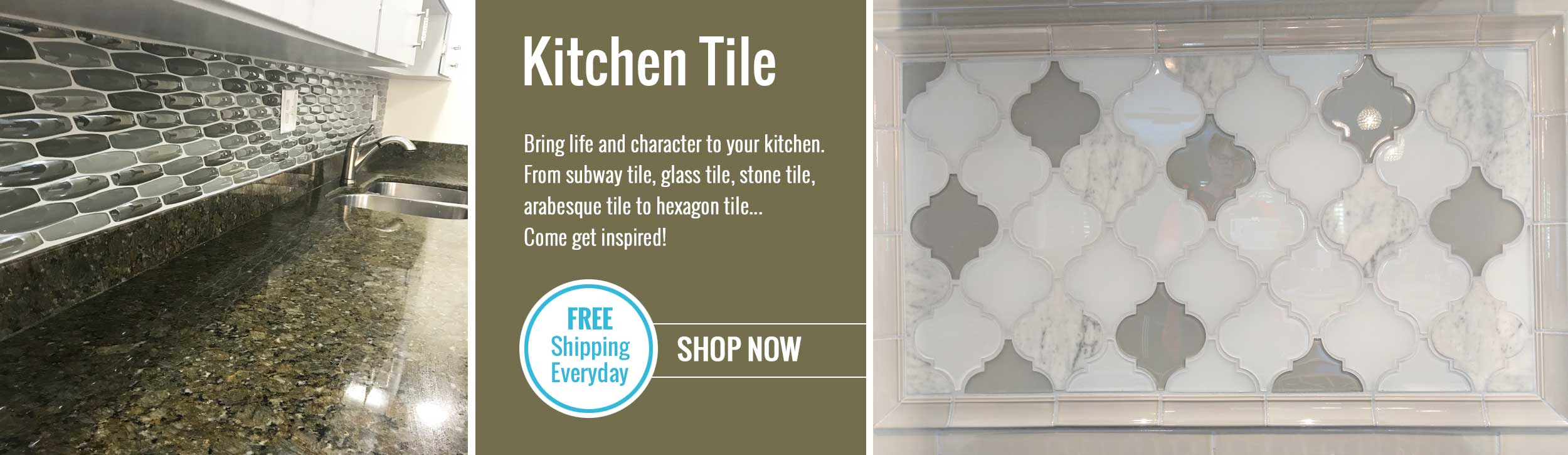 Shop kitchen tile in hexagon, arabesque, subway