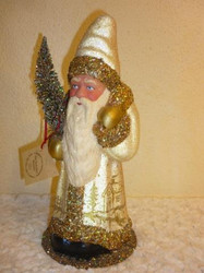 Schaller Santa in champagne coat with gold trim