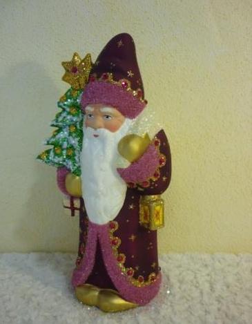 Schaller Santa in purple coat with pink trim