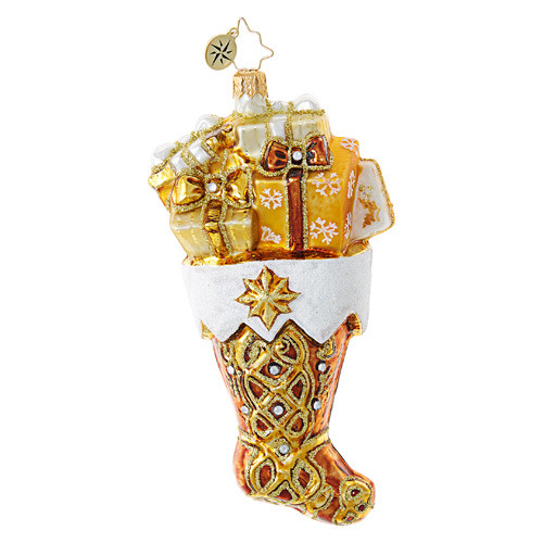 Christopher Radko Golden Gift Stocking