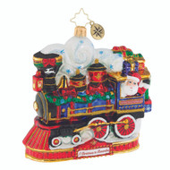 Christopher Radko Ornament of the Month 2018 A Christmas to Remember collection Arriving On Time - front