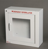 Basic AED cabinet without an alarm.  Fits most AEDs from Philips, HeartSine, Physio, Zoll, Defibtech.