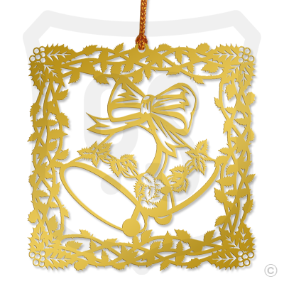 Bell w/ Ribbon & Holly - Ornament
