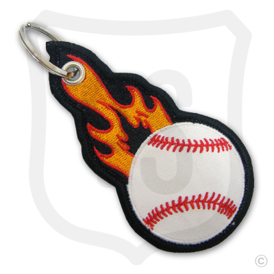Flaming Baseball Bag Tag