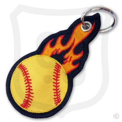 Flaming Softball Bag Tag