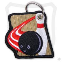 Embroidered Bowling Pin, Ball & Lane