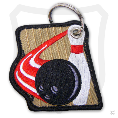 Embroidered Bowling Pin, Ball & Lane
