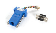 Black Box Modular Adapter Kit DB9F To RJ45F w/ Thumbscrews Blue FA4509F-BL