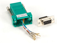 Black Box DB9 Colored Modular Adapter (Unassembled), Female to RJ-45, 8-Wire, Gr FA4509F-GR