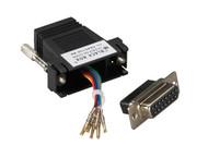 Black Box Modular Adapter Kit DB15F To RJ45F w/ Thumbscrews Black FA4515F-BK