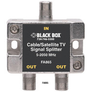 Black Box Cable/Satellite TV Signal Splitter, 2-GHz, 1-2 FA865