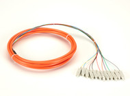 Black Box OM1 62.5-Micron Multimode Fiber Optic Pigtail, 12-Strand, SC, Orange, FOPT50M1-SC-12OR-3