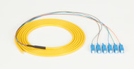 Black Box OS1 Single-Mode Fiber Optic Pigtail, 6-Strand, SC, Yellow, 3-m (9.8-ft FOPT50S1-SC-6YL-3