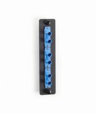 Black Box Standard Adapter Panel, Ceramic Sleeves, (3) Duplex ST Pairs, Blue JPM450C