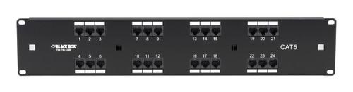 Black Box CAT5 Telco Patch Panel, 2U, 8-Wire, T568B, 24-Port JPMT090A
