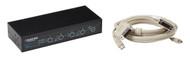 Black Box 4-Port Desktop KVM Switch, DVI-D with Emulated USB KM, W/Cables KV9614A-K