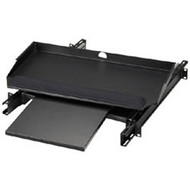 "Black Box 19"" Sliding Pivoting Keyboard Tray with Front Mouse Tray RMT387"