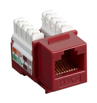Black Box CAT5e Keystone Jack Unshielded Jack Red 10-Pack CAT5EJ-RD-10PAK