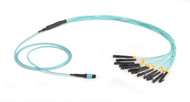 Black Box 3m MTP OM3 Fiber Optic Harness Cable Plenum 12-Strand FOHC20M3-MPLC-12AQ-3