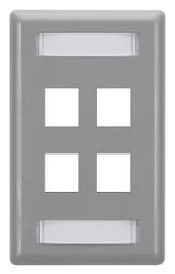 Black Box 4-Port Gray Single-Gang Keystone Wallplate WP473