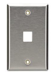 Black Box 1-Port Single-Gang Keystone Stainless Steel Wallplate WP370