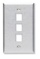 Black Box 3-Port Single-Gang Keystone Stainless Steel Wallplate WP372