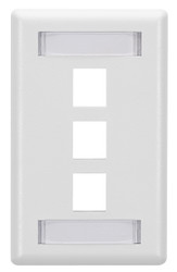 Black Box 3-Port White Single-Gang Keystone Wallplate WP470