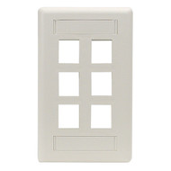 Black Box 6-Port Office White Single-Gang Keystone Wallplate WP480