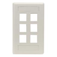 Black Box GigaStation Wallplate, 6-Port, Single-Gang, Office White WP480
