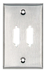 Black Box Stainless Steel Wallplate, DB15, Single-Width, 2-Punch WP081