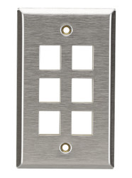 Black Box 6-Port Single-Gang Keystone Stainless Steel Wallplate WP374