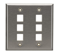 Black Box 6-Port Double-Gang Keystone Stainless Steel Wallplate WP375