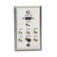 Black Box A/V Stainless Wallplate, Single-Gang, (1) VGA HD15 F, (1) S-Video F, ( WP805