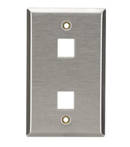 Black Box 2-Port Single-Gang Keystone Stainless Steel Wallplate WP371