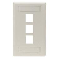 Black Box GigaStation Wallplate, 3-Port, Single-Gang, Office White WP468