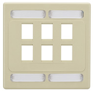 Black Box Category 7 S/FTP Faceplate, Double-Gang, 6-Port, Ivory WPC7478