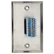 Black Box VGA Female w/ Terminal Block, 15-Lead, Stainless Steel Wallplate WPVGA04