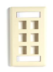 Black Box GigaStation2 Wallplate, 6-Port Single-Gang, Ivory WPT478