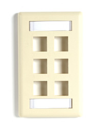Black Box 6-port Ivory Single-Gang Keystone Wallplate WPT478