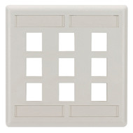 Black Box GigaStation2 Wallplate, 9-Port Dual-Gang, Office White WPT486