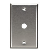 Black Box Stainless Steel Wallplate, Coax (No Jack), Single-Width, 1-Punch WP211