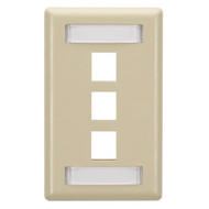 Black Box 3-Port Ivory Single-Gang Keystone Wallplate WPT466