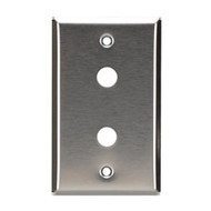 Black Box Stainless Steel Wallplate, Coax (No Jack), Single-Width, 2-Punch WP231