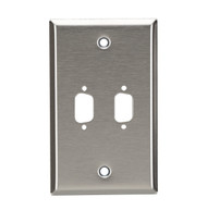 Black Box 2-Port DB9 Single-Gang Stainless Steel Wallplate WP071