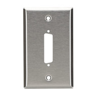 Black Box Stainless Steel Wallplate, DB25, Single-Width, 1-Punch WP020