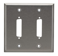 Black Box Stainless Steel Wallplate, DB25, Double-Width, 2-Punch WP030