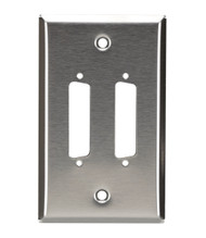 Black Box Stainless Steel Wallplate, DB25, Single-Width, 2-Punch WP040
