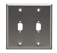 Black Box Stainless Steel Wallplate, DB9, Double-Width, 2-Punch WP073