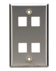 Black Box 4-Port Single-Gang Keystone Stainless Steel Wallplate WP373
