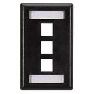 Black Box GigaStation Wallplate, 3-Port, Single-Gang, Black WP465
